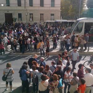 manifestazione  degli insegnanti davanti al Ministero dell'Istruzione